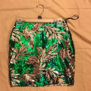 Green sequin high waisted skirt